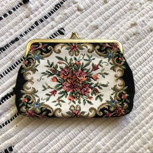 Floral embroidered vintage change purse
